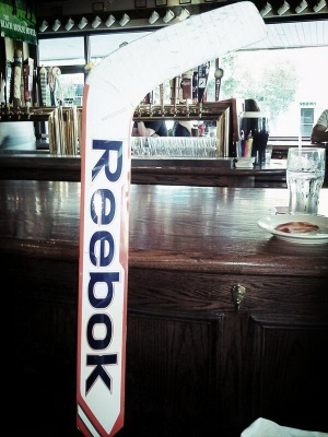 Goalie stick at local pub
