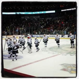 Iowa Wild Win opening night.