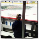 Ewanyk doing his pregame thing on the Barons bench.